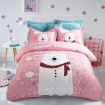Girls Pastel Pink and White Animal Bear and Snowflake Print Hipster Cute Style 100% Brushed Cotton Full, Queen Size Bedding Sets