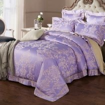 Blue-violet and Gold Sequin Gothic Pattern Victorian Style Sophisticated Elegant Jacquard Satin Full, Queen Size Bedding Sets