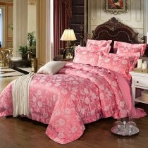 Luxury Brink Pink and Silver Beautiful Floral Pattern Rustic Chic Jacquard Satin Full, Queen Size Bedding Sets