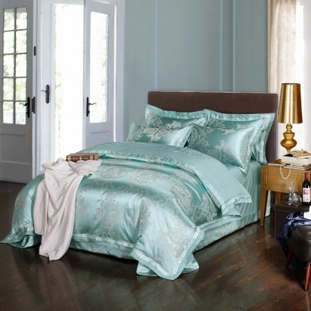 Fancy Bright Teal and Grey Indian Bohemian Style Luxury Sequin Jacquard Satin Full, Queen Size Bedding Sets