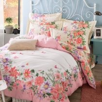 Fancy Pink White and Green Butterfly and Floral Print Garden Images 100% Cotton Full, Queen Size Bedding Sets