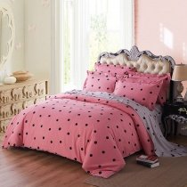 Modern Chic Black Pink and Silver Gray Polka Dot Print Elegant Cute Girly Teen Girls Full, Queen Size Bedding Sets