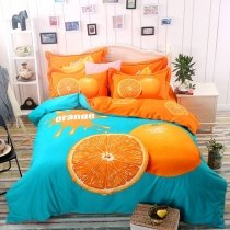 Trendy Orange and Turquoise Fruit Orange Print Hipster and Unique Funky Style 100% Brushed Cotton Full, Queen Size Bedding Sets