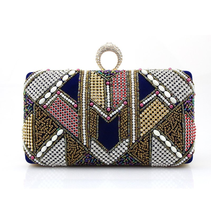 Gorgeous Colorful Bling Rhinestone Beaded Women Mini Evening Clutch Vintage Gypsy Pattern Lock Closure Chain Crossbody Shoulder Bag