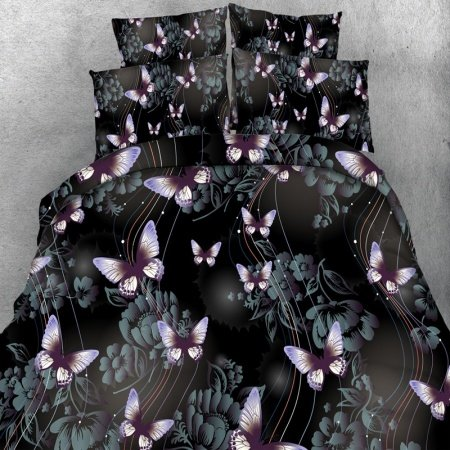 Black White Purple and Sage Green Butterfly and Flower Print Music Themed Punk Rock and Roll Style Twin, Full, Queen, King Size Bedding Sets