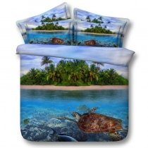 Green Blue and Brown Island and Sea Turtle Print Tropical Hawaiian Ocean Themed Twin, Full, Queen, King Size Bedding Sets