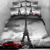 Gray and Red Eiffel Tower and Car Print Vintage French Paris Style Shabby Chic Old Fashion Twin, Full, Queen, King Size Bedding Sets