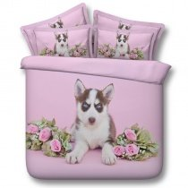 Pastel Style Pale Pink Green and White Dog and Rose Print Modern Chic Funky Kids Twin, Full, Queen, King Size Bedding Sets
