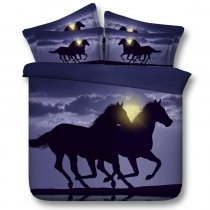 Hipster Midnight Blue and Gray Horse Print Farm Animal Themed Shabby Chic Unique Twin, Full, Queen, King Size Bedding Sets
