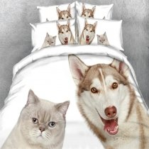 Kids Brown and White Kitty Cat and Dog Print Farm Animal Cartoon Style Twin, Full, Queen, King Size Bedding Sets