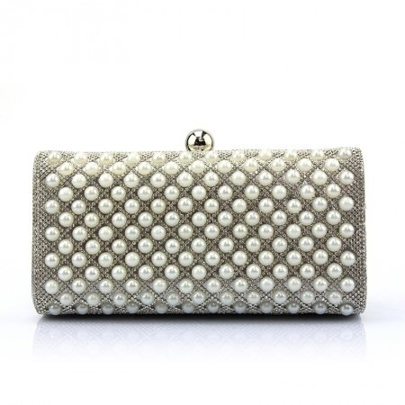 Silver Patent Leather Bling Rhinestone Lady Small Evening Clutch Vintage Lock Closure Pearl Beaded Chain Crossbody Shoulder Bag