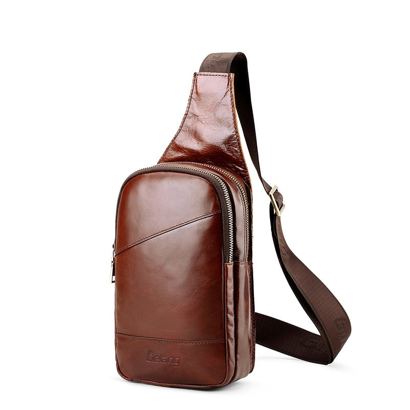 Vintage Burnt Brown Men Crossbody Shoulder Chest Bag Durable Distressed Waxed Genuine Cowhide Leather Travel Hiking Cycling Sling Backpack