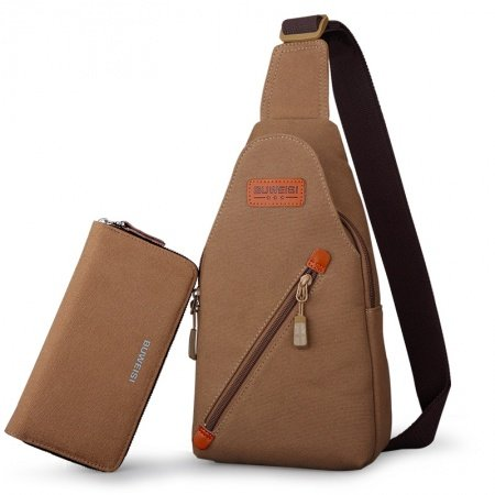 Coffee Brown Waxed Canvas Cool Men Small Crossbody Shoulder Chest Bag Vintage Sewing Pattern Travel Hiking Cycling Sling Backpack