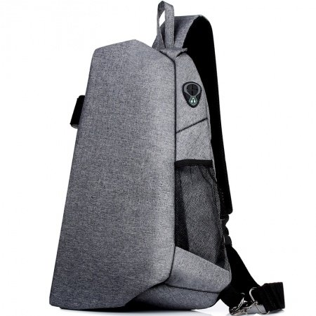Solid Silver Gray Oxford Cool Boys Large Crossbody Shoulder Chest Bag Oversized Hipster Zipper Travel Hiking Cycling Sling Backpack