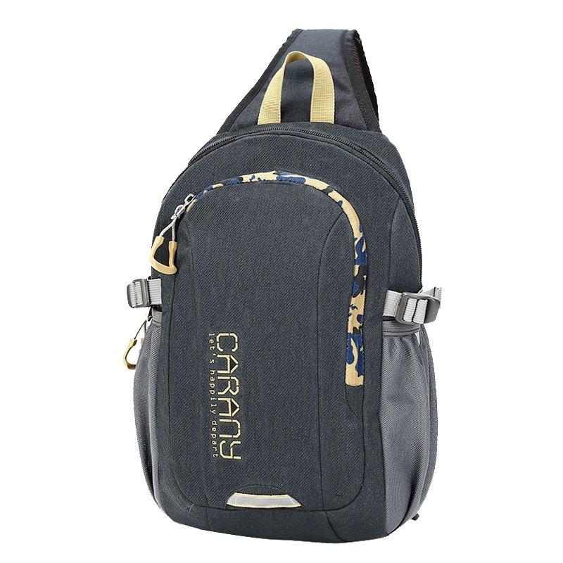 Durable Black Polyester Masculine Men Crossbody Shoulder Chest Bag Stylish Monogrammed Print Casual Travel Hiking Sling Backpack