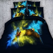 Sapphire Blue Yellow and Black Parrot Print Woodland Animal Themed Twin, Full, Queen, King Size Bedding Sets for Teens