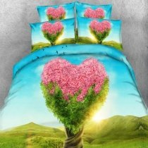 Pastel Sky Blue Aqua Yellow Pink and Lime Green Heart Tree and Bird Print Sunrise Scene Twin, Full, Queen, King Size Bedding Sets