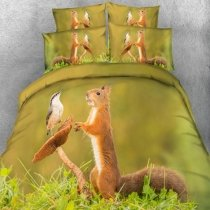 Green Brown and White Squirrel and Bird Print Kids Animal Themed Funny Style Twin, Full, Queen, King Size Bedding Sets