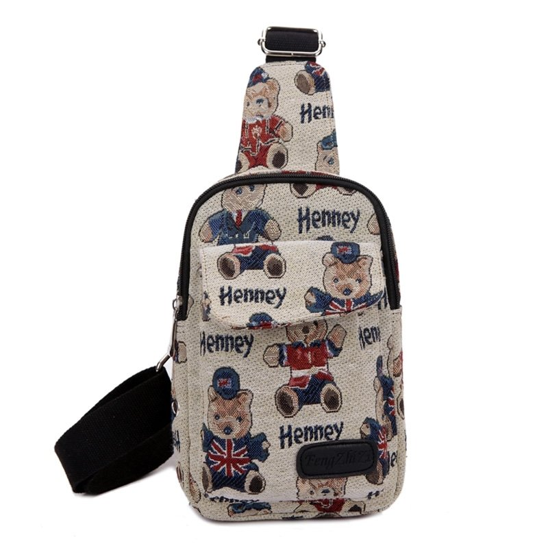 Navy Blue Red Beige Canvas Girls Mini Crossbody Shoulder Chest Bag Personalized Animal Bear Monogrammed Print Casual Travel Sling Backpack