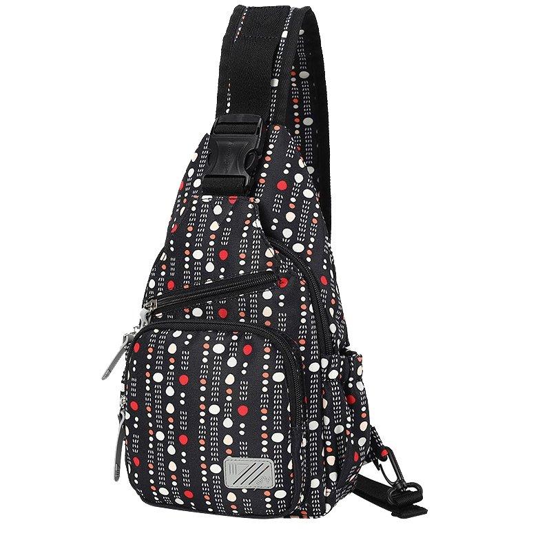 Black White and Orange Polyester Girls Crossbody Shoulder Chest Bag Stylish Polka Dot Print Small Travel Hiking Cycling Sling Backpack