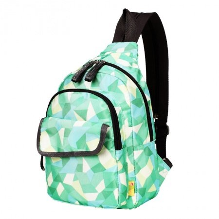 Lime Green Aqua and Cream Polyester Girls Crossbody Shoulder Chest Bag Vogue Geometric Pattern Travel Hiking Cycling Sling Backpack