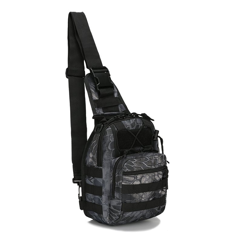 Black and Gray Waxed Canvas Men Tactical Crossbody Shoulder Chest Bag Vintage Python Print Small Travel Hiking Cycling Sling Backpack
