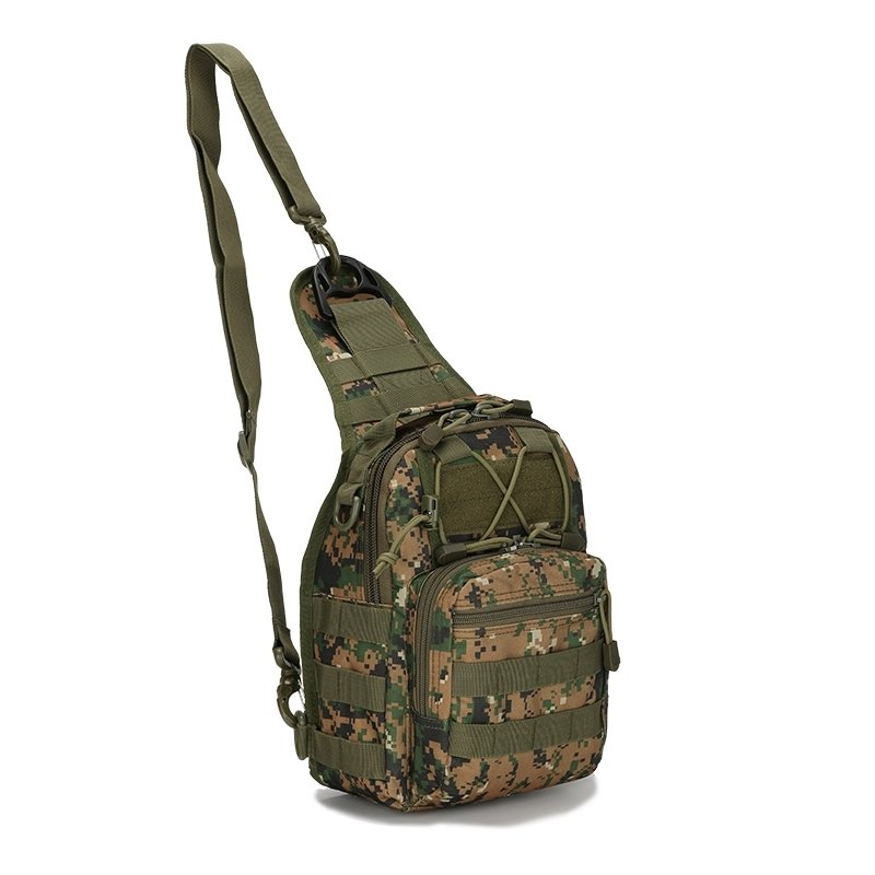 Army Green Taupe Waxed Canvas Men Tactical Crossbody Shoulder Chest Bag Trend Camouflage Print Small Travel Hiking Cycling Sling Backpack