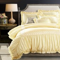 Sophisticated Elegant White and Bright Yellow Vintage Victorian Lace Ruffle Luxurious Feminine Full, Queen Size Bedding Sets