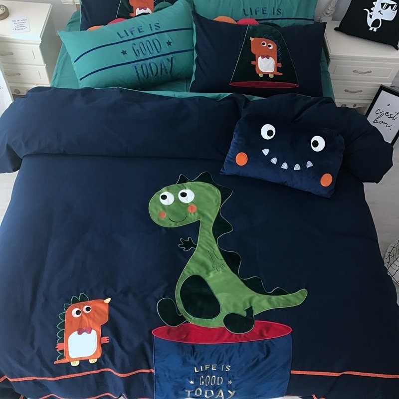 Personalized Dark Blue Orange Red and Lime Green Embroidered Dinosaur Print Jungle Animal Twin, Full, Queen Size Bedding Sets