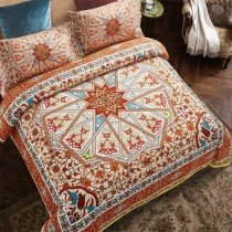 Noble Excellence Burnt Orange and Beige Bohemian Tribal Print Southwestern Themed Abstract Full, Queen Size Bedding Sets