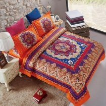 Purple Orange and Royal Blue Medieval Pattern Paisley Print Moroccan Bohemian Style Southwestern Full, Queen Size Bedding Sets