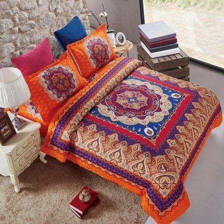 Purple Orange and Royal Blue Medieval Pattern Paisley ...