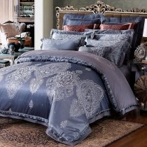 Slate Gray and Silver Western Paisley Pattern Bohemian Chic Shabby Chic Moroccan Style Full, Queen Size Bedding Sets