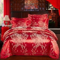 Fancy Dark Red and Silver Flower and Scroll Pattern Beautiful Cute Style Sophisticated Elegant Full, Queen Size Bedding Sets