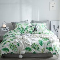 Hipster Green and White Fern Leaf Print Modern Chic Tropical Hawaiian Country Chic Twin, Full, Queen Size Bedding Sets