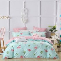 Bright Colored Flamingo Print Animal Themed Modern Country Chic Twin, Full, Queen Size Bedding Sets