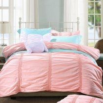 Solid Colored Puffy Sophisticated Elegant Girly Full, Queen Size Bedding Sets in Coral Pink and Tiffany Blue