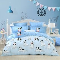 Boys Puppy Print Farm Animal Themed Funky Twin, Full, Queen Size Bedding Sets in Sky Blue Black and White