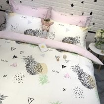 Trendy Pale Pink Black White and Yellow Pineapple Print Country Chic Modern Chic Abstract Twin, Full, Queen Size Bedding Sets