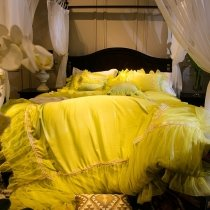 Sophisticated Elegant Solid Yellow Fluffy Lace Design Luxury Full, Queen Size Bedding Sets