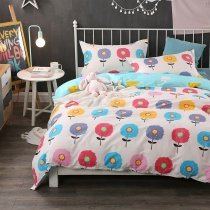 Pastel Kawaii Style Colorful Flower Print Twin, Full Size Bedding Sets