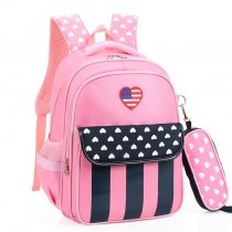 Black White and Pink Nylon Girls Pupil School Book Bag American Flag Stripes and Stars Print Kids Campus Backpack