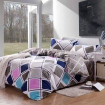 Grey Pink and Blue Lattice Plaid Print Design Full, Queen Size Modern Chic 100% Cotton Bedding Sets
