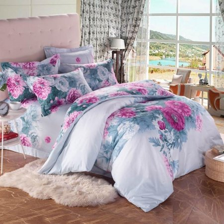 Army Green Pink and White Colorful Peony Floral Print Asian Inspired Full, Queen Size Bedding Sets