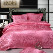 Solid Pink Pure Color Vintage Peony Floral Print Full, Queen Size Jacquard Design 100% Cotton Satin Bedding Sets