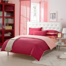 Claret-red and Pink Solid Pure Color Simply Shabby Chic Girls Bedroom Full, Queen Size Bedding Sets