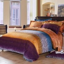 Purple Orange and Teal Blue Cheetah | Leopard Print Sexy Adult Unique Design Full, Queen Size Bedding Sets