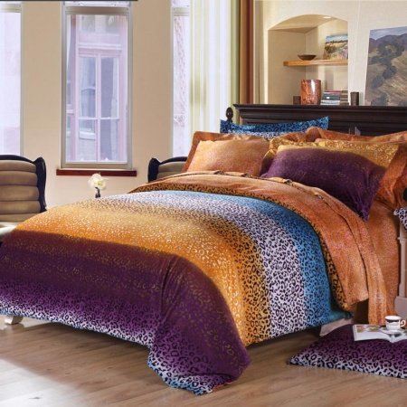 Purple orange and teal blue cheetah leopard print sexy adult unique design full queen size for Full size bedroom sets for adults