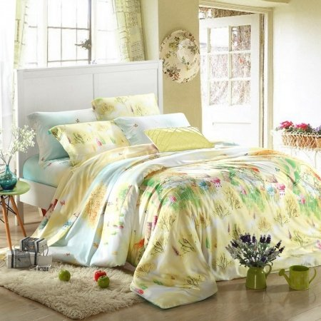 Blue Green and Yellow Rustic Scene and Vintage Chic Floral Print Modal Tencel Full, Queen Size Bedding Quilt Covet Sets
