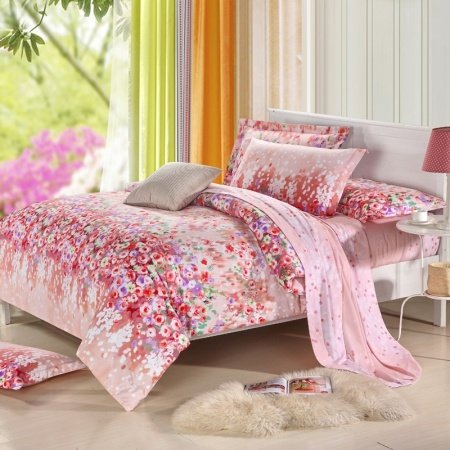 Red and Pink Cute Style Romantic Warm Vintage Chic Girls Floral Print Modal Tencel Full, Queen Size Bedding Quilt Covet Sets